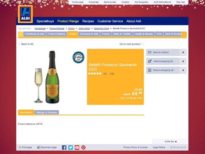 Belletti Prosecco Spumante DOC is Currently on Offer for £4.99 at Aldi