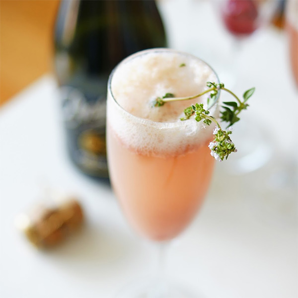 Rhubarb Bellini cocktail