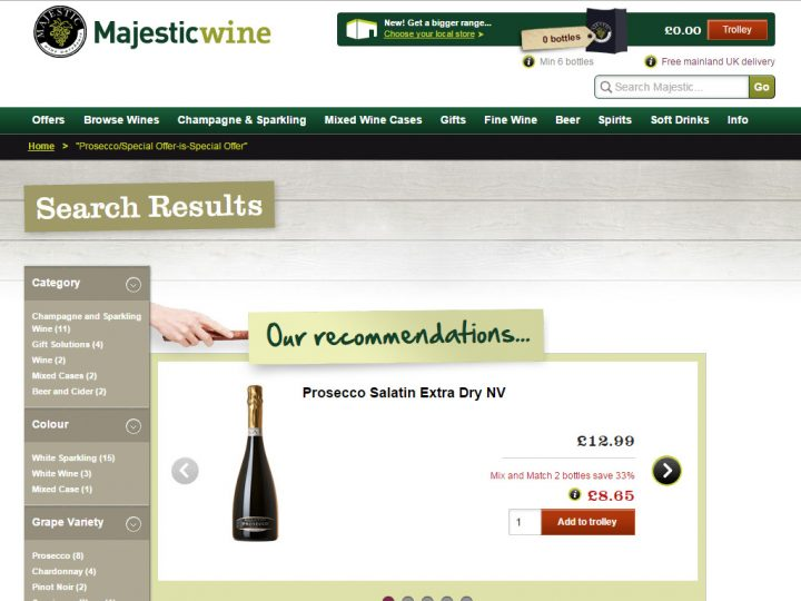 33% Off Offer at Majestic Wine when you Mix and Match 2 Bottles of Presseco