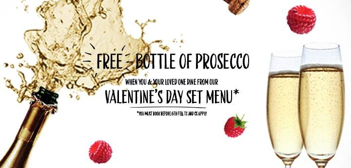 FREE bottle of Prosecco when you book/dine from the Valentine menu at Pizza Express!